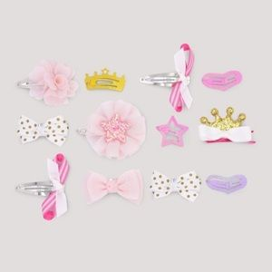 Other - Girls Glitter Sparkle Bow Hair Styling Clips NWT